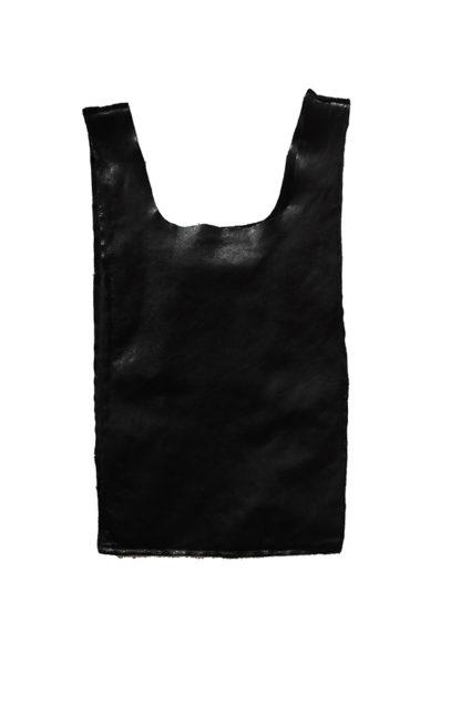 sacchetto in pelle nera con manici piccoli